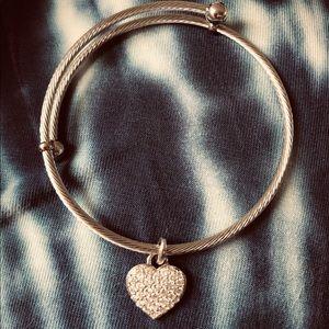 Diamonique charm bangle bracelet, stainless steel